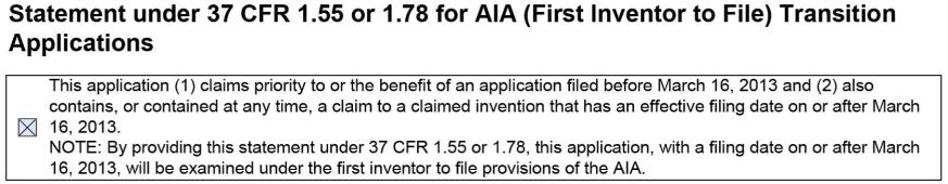 Statement 37 First Inventor to File Transition Applications